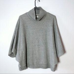 Lou & Grey Anthro Gray Cowl Neck Poncho Sweater